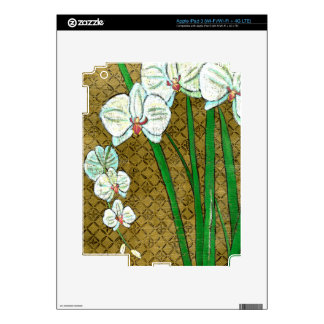 White Flowers and Green Stems on Brown Border iPad 3 Decals