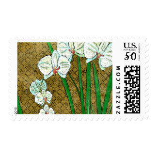 White Flowers and Green Stems on Brown Border Postage