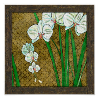 White Flowers and Green Stems on Brown Border Poster