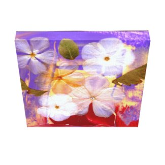 White flowers and lavender - art print on canvas