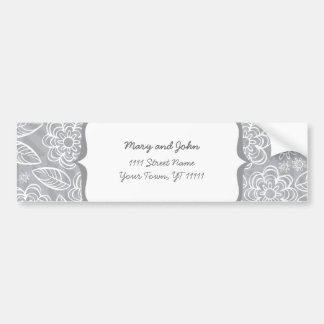 white flowers and leaves on gray bumper sticker