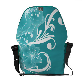 White Flowers and Scrolls on Blue Courier Bags