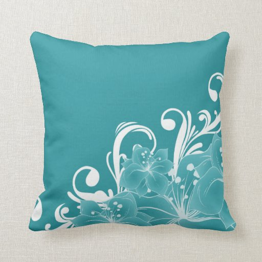 White Flowers and Scrolls on Blue Throw Pillow
