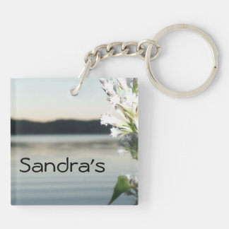 White Flowers and Sunset at the Lake Keychain