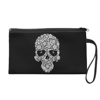 White Flowers and Vines Skull Design on Black Wristlet Clutches