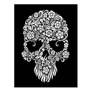 White Flowers and Vines Skull Design on Black Postcard