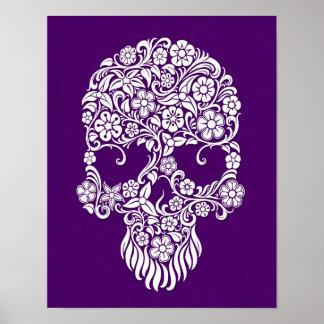 White Flowers and Vines Skull Design on Purple Poster
