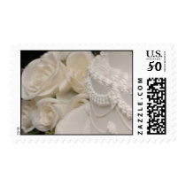 WHITE FLOWERS AND WEDDING CAKE POSTAGE STAMPS