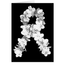 White Flowers Awareness Ribbon Card