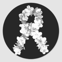 White Flowers Awareness Ribbon Classic Round Sticker
