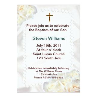 White flowers Baptism Invitation