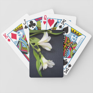 WHITE FLOWERS BICYCLE PLAYING CARDS