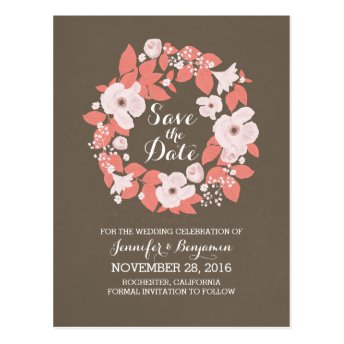 White flowers blossoms wreath cute save the date post card