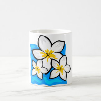 White flowers blue background coffee mug
