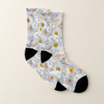 White Flowers Bouquet Floral Wedding Bridal Spring Socks