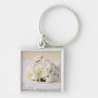 white flowers bouquet premium square keychain