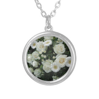White Flowers Bouquet Silver Plated Necklace