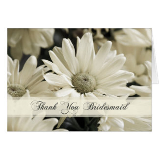 White Flowers Bridesmaid Thank You Card