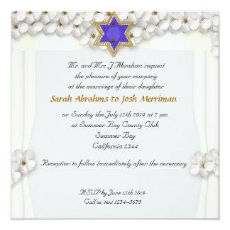 White flowers canopy jewish wedding card