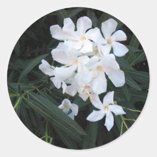 white flowers classic round sticker