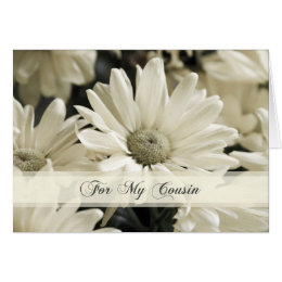 White Flowers Cousin Bridesmaid Thank You Card