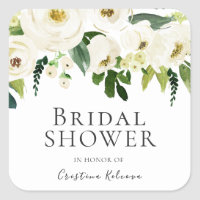 White Flowers & Cream Elegant Bridal Shower Square Sticker