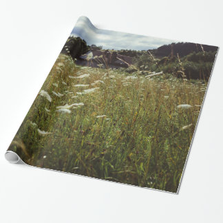 White Flowers Field Summer Evening Photo Wrapping Paper