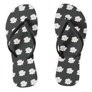White-Flowers-Floral(c) Unisex_Multi-Sizes Flip Flops