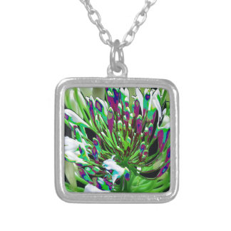 White Flowers Florals Green Bush Romance Gifts fun Square Pendant Necklace