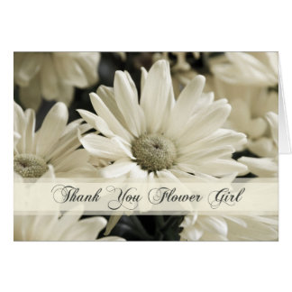 White Flowers Flower Girl Thank You Card
