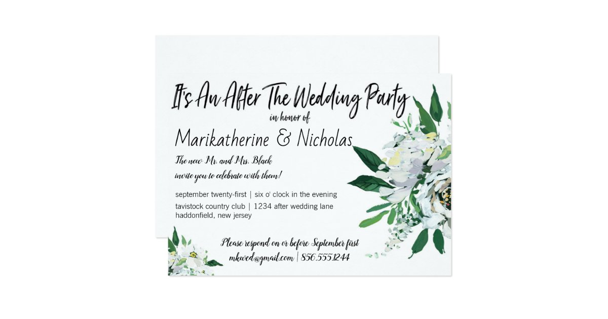 After Wedding Party Invitation: White Flowers For All Seasons After Wedding Party