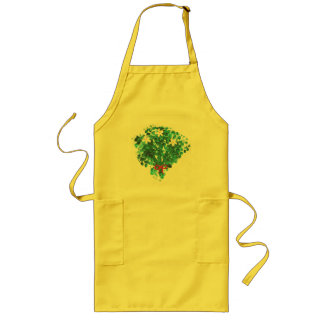 White Flowers Green Leaves Bouquet Aprons
