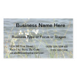 White flowers green stems blue pond back business card template