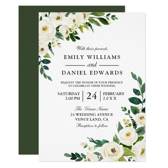 White Flowers Greenery Modern Wedding Invitation