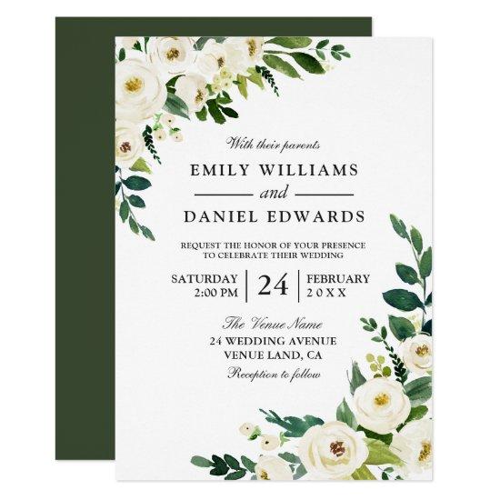 White Flowers Greenery Modern Wedding Invitation