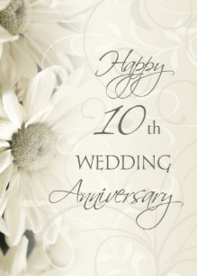Happy 10th anniversary gifts on zazzle white flowers happy 10th wedding anniversary card m4hsunfo