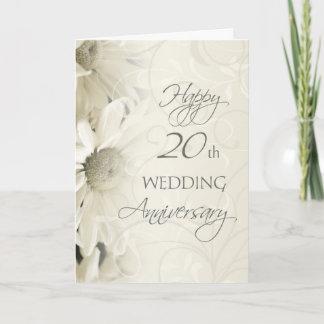 White Flowers Happy 20th Wedding  Anniversary Card