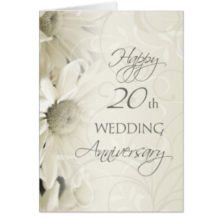 White Flowers Happy 20th Wedding  Anniversary Card