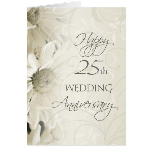 White Flowers Happy 25th Wedding Anniversary Card