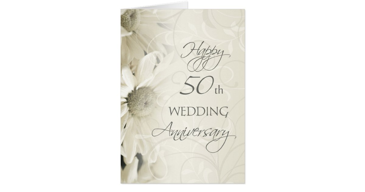 First Wedding Anniversary Gift For Daughter And Son In Law : White Flowers Happy 50th Wedding Anniversary Card Zazzle
