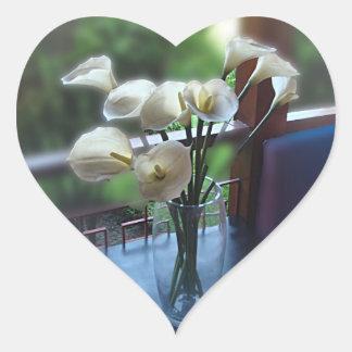 White Flowers in a Glass Vase Heart Sticker
