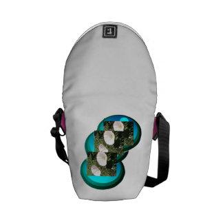 White Flowers In Deep Sea Blue Circles Mini Bag. Courier Bag