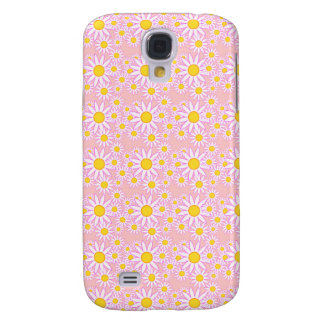 White Flowers in Pink Background Samsung Galaxy S4 Case