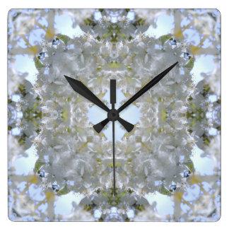 White Flowers Kaleido Wall Clock