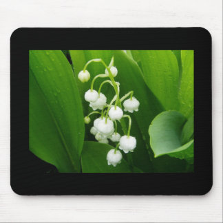 White Flowers lily of the Valley Mousepad
