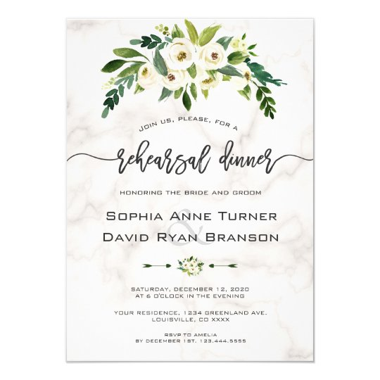 White Flowers Marble Handwriting Rehearsal Dinner Invitation