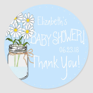 White Flowers Mason Jar Blue Baby Shower Thank You Classic Round Sticker