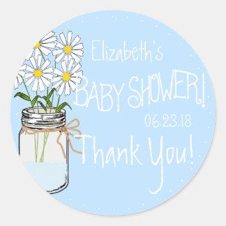 White Flowers Mason Jar Blue Baby Shower Thank You Classic Round Sticker