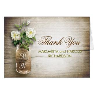 White flowers mason jar wedding thank you cards