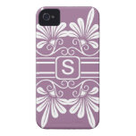 White Flowers Monogrammed  iPhone 4:Purple iPhone 4 Covers